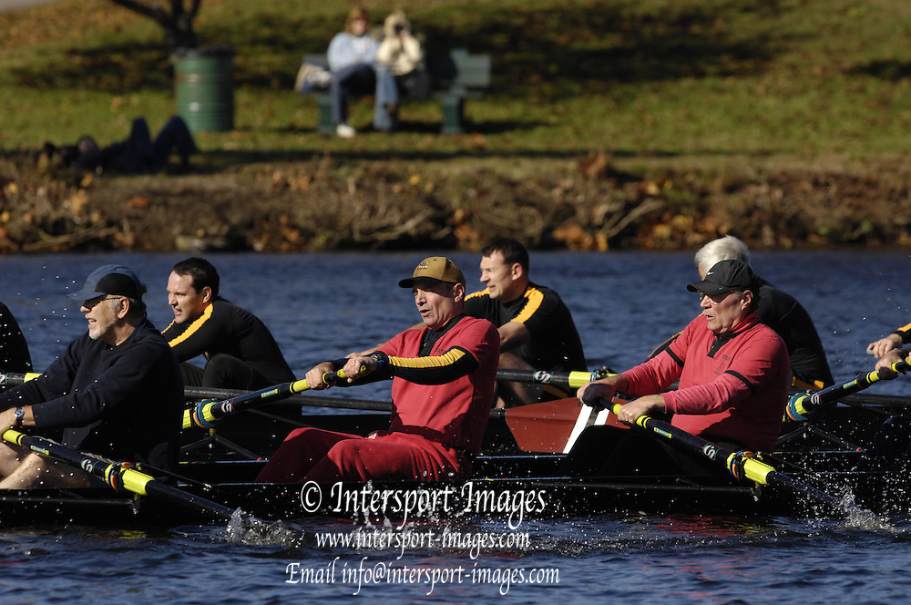 Boston, Massachusetts, Senior Master  Men's Eights M8+, approaching,  Weeks Footbridge, competing in the Forty second Head of the Charles, 21/10/2006.  Photo  Peter Spurrier/Intersport Images...[Mandatory Credit, Peter Spurier/ Intersport Images] Rowing Course; Charles River. Boston. USA