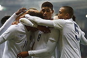 England Players Celebrate the second goal during the U19 International match between England U19's and Italy U19's at the New York Stadium, Rotherham, England on 14 November 2014.