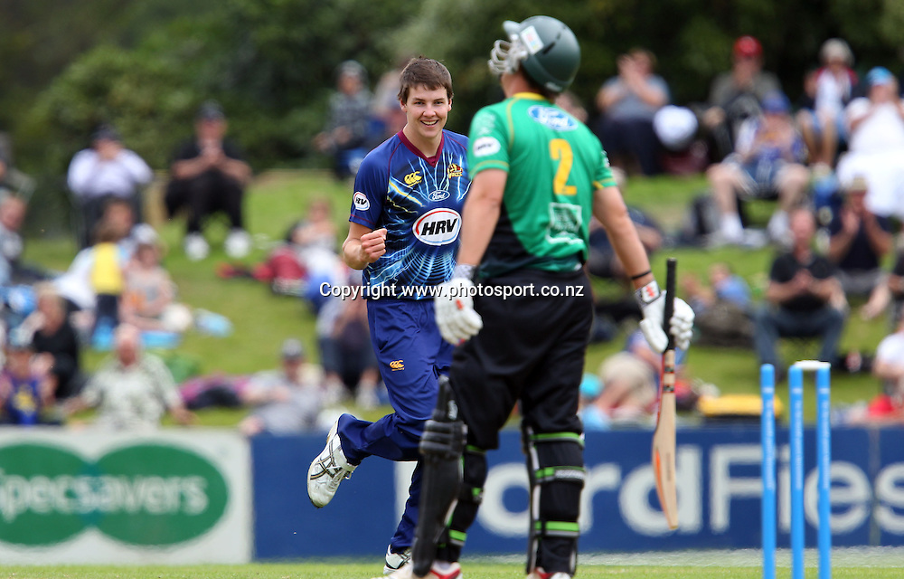 Jacob Duffy of the Volts reacts to bowling Mathew Sinclair.<br /> Twenty20 Cricket - HRV Cup, Otago Volts v Central Stags, 6 January 2013, University Oval, Dunedin, New Zealand.<br /> Photo: Rob Jefferies / photosport.co.nz
