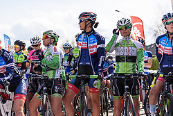Riders line up early for the start in Dottignies - Grand Prix de Dottignies 2016. A 117km road race starting and finishing in Dottignies, Belgium on April 4th 2016.