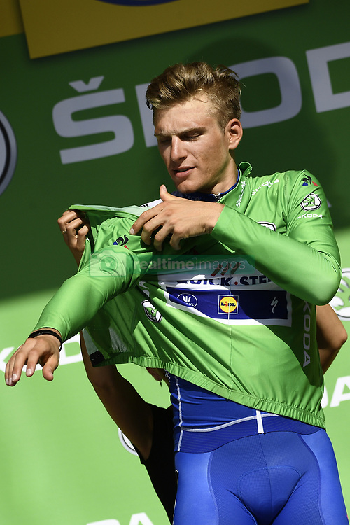 July 7, 2017 - Nuits-Saint-Georges, FRANCE - German Marcel Kittel of Quick-Step Floors celebrates on the podium in the green jersey of leader in the sprint ranking after winning the seventh stage of the 104th edition of the Tour de France cycling race, 213,5 km from Troyes to Nuits-Saint-Georges, France, Friday 07 July 2017. This year's Tour de France takes place from July first to July 23rd. BELGA PHOTO YORICK JANSENS (Credit Image: © Yorick Jansens/Belga via ZUMA Press)