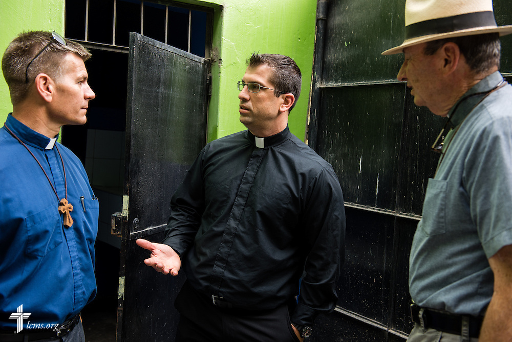 The Rev. Ross Johnson, LCMS director of Disaster Response, talks to the Rev. Herb Burch (right) and the Rev. Mark Eisold (left), both LCMS career missionaries to Peru, at the Noe school (Spanish for Noah) near Lima, Peru, on Tuesday, April 7, 2015. The school was affected by recent landslides. LCMS Communications/Erik M. Lunsford