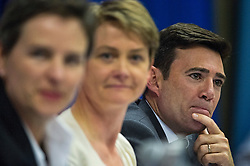 © Licensed to London News Pictures. 06/06/2015. London, UK. L to R Mary Creagh, Yvette Cooper and Andy Burnham. Current Labour Leadership candidates attend a debate at the Fabien Society Conference, held at the institute of Education in London. Photo credit: Ben Cawthra/LNP