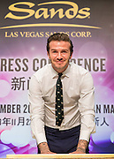 MACAU, CHINA - NOVMEBER 22:  China Out - Finland Out<br /> <br /> David Beckham Visits Macau<br /> David Beckham attends a press conference after signing a deal with Las Vegas Sands on November 22, 2013 in Macau, China. <br /> ©Exclusivepix