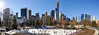 US, New York City, Central Park. Ice skating at the Trump Rink. Stitched panorama.