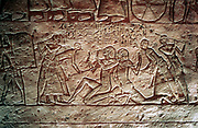 Capture of enemy soldiers by Egyptians. Limestone relief from Temple of Rameses II, The Great (1304-1237 BC), Abu Simbel.