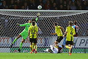 Burnley's Ashley Westwood (18) shoots at goal but the ball goes just over the bar during the EFL Cup match between Burton Albion and Burnley at the Pirelli Stadium, Burton upon Trent, England on 25 September 2018.