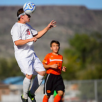 100113  Adron Gardner/Independent<br /> <br /> Grants Pirate Scott Russell (15) times a header in Grants Tuesday.