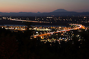 Mt St Helens and Glen Jackson Bridge from Rocky Butte at Sunset