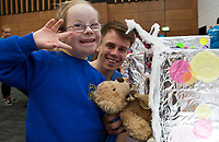 18/01/2018 Ema Dzemijonaite from Scoil Mhuire Oranmore  with teddy  at the Teddy Bear Hospital at NUI Galway with 3rd year Med Student David Nagle from Doolin . Students get used to dealing with Kids and Kids get a Hospital experience with a difference. Photo:Andrew Downes, XPOSURE