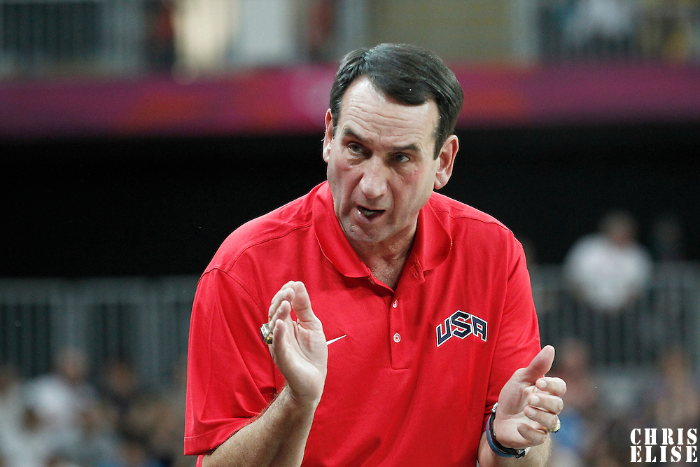 04 August 2012: USA head coach Michael Krzyzewsi is seen during 99-94 Team USA victory over Team Lithuania, during the men's basketball preliminary, at the Basketball Arena, in London, Great Britain.
