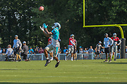 Carolina Panthers wide receiver Jaydon Mickens (14) catches a pass from quarterback Will Grier (3) during training camp at Wofford College, Saturday, July 27, 2019, in Spartanburg, S.C. (Brian Villanueva/Image of Sport)