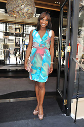 DENISE LEWIS at a girl's lunch to celebrate the opening of Annoushka Ducas's new store Flagship Annoushka at 1 South Molton Street, London W1 on 26th July 2012.  Following drinks guests went for lunch at Claridge's, Brook Street, London.