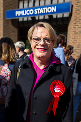 © Licensed to London News Pictures. 03/05/2018. London, UK. Stand up comedian and Labour NEC member EDDIE IZZARD poses for a photo outside Pimlico Tube Station as part of 'Unseat Westminster Tory Council'. The gathering was arranged to round up volunteers to speak to Westminster residents who said they would vote for labour. Photo credit : Tom Nicholson/LNP