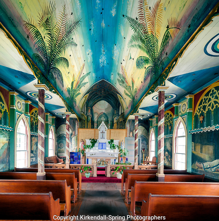 HI00467-00....HAWAI'I - St. Benedict Roman Catholic Church in Honaunau. Known as The Painted Church. The first painted church in Hawai'i.Located on the island of Hawai'i.