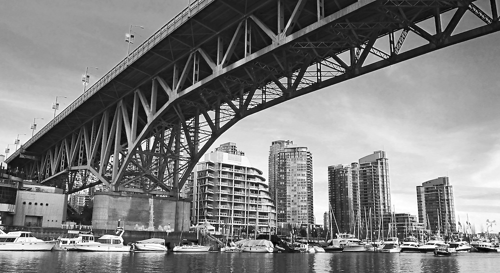 Black & white photograph Granville Bridge over False Creek, Vancouver BC