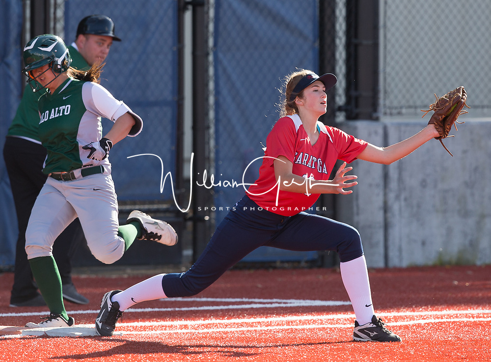 (Photograph by Bill Gerth/ for Max Preps/3/22/17) Palo Alto vs Saratoga in a SCVAL girls varsity softball game at Saratoga High School, Saratoga CA on 3/22/17.