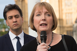 Parliament Square, Westminster, London, June 17th 2016. Following the murder of Jo Cox MP a vigil is held as friends and members of the public lay flowers, light candles and leave notes of condolence and love in Parliament Square, opposite the House of Commons. PICTURED: Harriet Harman addresses the gathering