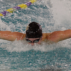 TOM KELLY IV &mdash; DAILY TIMES<br /> Andrew Karsh, of Upper Darby swims in the 100m butterfly and takes first place during the Haverford at Upper Darby swim meet, Friday afternoon.
