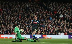 Petr Cech of Arsenal makes a save from Fabian of Napoli - Mandatory by-line: Arron Gent/JMP - 11/04/2019 - FOOTBALL - Emirates Stadium - London, England - Arsenal v Napoli - UEFA Europa League Quarter Final 1st Leg
