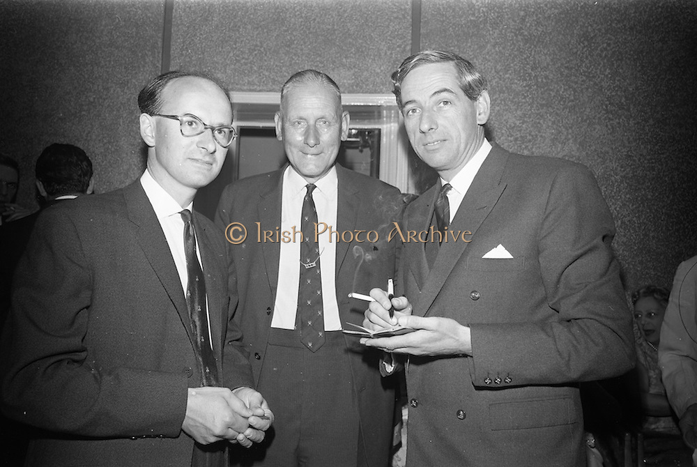 16/06/1967<br /> 06/16/1967<br /> 16 June 1967<br /> General Assembly of the Wine and Spirit Federation Farewell dinner at the Hibernian Hotel, Dublin, that ended the 1967 General Assembly of the Federation Internationale des Industries et du Commerce en Gros des Vines, Spiriteux, Eaux-de-vie, et Liqueurs, held in Dublin for the first time.<br /> Picture shows (l-R): Mr. P.J. Cocks, Production Director of Old Bushmills Diistillery Co. Ltd.; Mr Austin Boyd, Managing Director, Old Bushmills Diistillery Co. Ltd. and Mr F.J. O'Reilly, Chairman, John Power and Son Ltd. chatting at the reception.