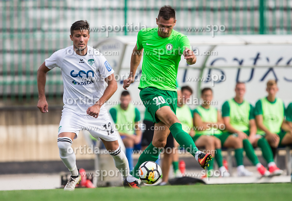 Marko Dusak of NK Krsko vs Sinisa Marinovic of ND Ilirija during football match between ND Ilirija 1911 and NK Krsko in 1st Round of Slovenian Football Cup 2017/18, on August 16, 2017 in Stadium Ilirija, Ljubljana, Slovenia. Photo by Vid Ponikvar / Sportida