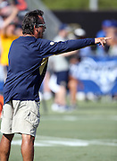 Los Angeles Rams head coach Jeff Fisher points during the Los Angeles Rams 2016 NFL training camp football practice held on Tuesday, Aug. 2, 2016 in Irvine, Calif. (©Paul Anthony Spinelli)
