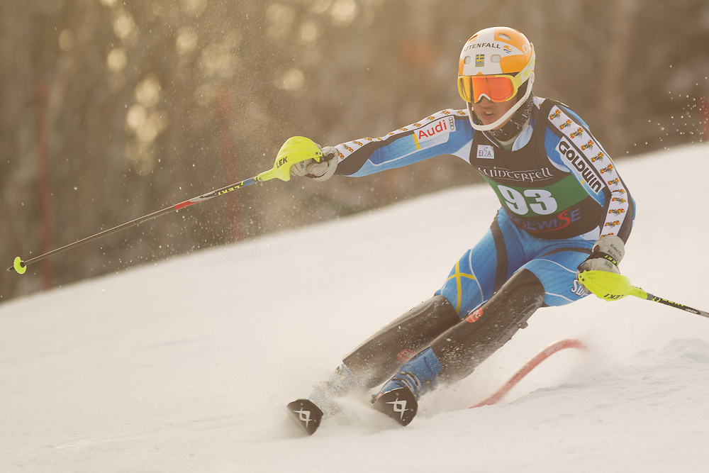 David Frisk, skis during the first run of the men's slalom at the Colby College Carnival at Sugarloaf Mountain on January 18, 2014 in Carabassett Valley, ME. (Dustin Satloff/EISA)