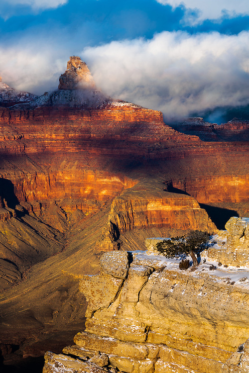 Clouds form on Zoroaster Temple. Grand Canyon National Park.