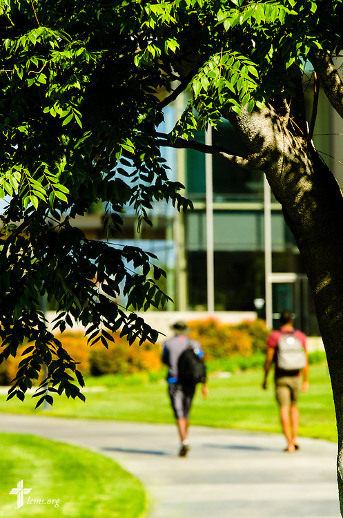 Students and visitors walk toward Robert Alan Grimm Hall at Concordia University Irvine on Wednesday, July 9, 2014, in Irvine, Calif. LCMS Communications/Erik M. Lunsford