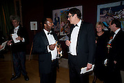 BEN OKRI; ALAN RUSBRIDGER, Annual Dinner. Royal Academy of Arts. Piccadilly. London. 8 June 2010. -DO NOT ARCHIVE-© Copyright Photograph by Dafydd Jones. 248 Clapham Rd. London SW9 0PZ. Tel 0207 820 0771. www.dafjones.com.