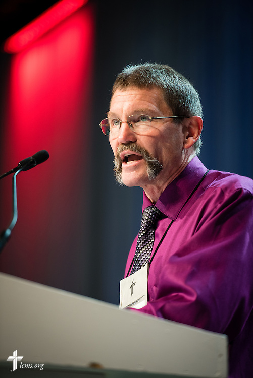 "The Rev. Terry R. Forke, president of Montana District, speaks during Floor Committee 14 ""Church and Culture"" on Monday, July 11, 2016, at the 66th Regular Convention of The Lutheran Church–Missouri Synod, in Milwaukee. LCMS/Michael Schuermann"