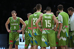Jaka Blazic of Slovenia and other players of Slovenia during basketball match between Latvia and Slovenia at Day 8 in Round of 16 of FIBA Europe Eurobasket 2015, on September 12, 2015, in LOSC Lile stadium, Croatia. Photo by Marko Metlas / MN PRESS PHOTO / SPORTIDA