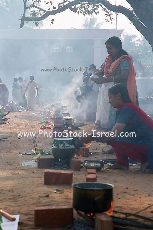 Food stalls at the great elephant festival in Karela, India, Kerala is a state on the tropical coast of south west India