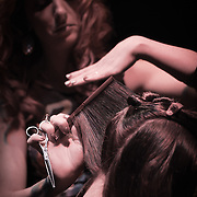 02/12/12 West Chester PA: Hairstylist Jen Colloton Eberwein from Crimson Hair studios in Philadelphia working on model Jessica hair during Open Chair 11 Sunday, Feb. 12, 2012 at The Note in West Chester Pennsylvania.<br /> <br /> <br /> Special to Monsterphoto/SAQUAN STIMPSON