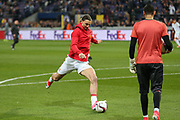 Zlatan Ibrahimovic Forward of Manchester United in warm up during the UEFA Europa League Quarter-final, Game 1 match between Anderlecht and Manchester United at Constant Vanden Stock Stadium, Anderlecht, Belgium on 13 April 2017. Photo by Phil Duncan.