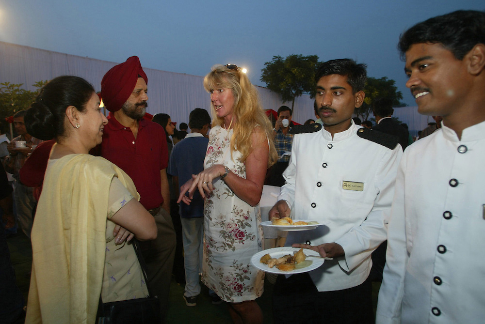 Endlessly mingling sport and spectacle India's new royalty tend to be resolute Anglophiles. In a polo crowd, the talk is often of country houses, Eton and insider gossip about the British royal family during cocktail parties at the Jaipur Polo Ground in New Delhi, India Sunday Nov. 3, 2002. It can be easy, amid the circus:stands filled with the rich, the pretending-to-be-rich and the aspiring-to-be-rich, to not even notice the matches. Well-fought, polo is a startlingly beautiful game, a duel of men and horses.They are a show unto themselves.