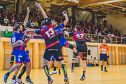29.09.2018, Sporthalle Leoben-Donawitz, Leoben, AUT, HLA, Union JURI Leoben vs Sparkasse Schwaz HANDBALL TIROL, im Bild v.l.: Christian Hallmann (Union JURI Leoben), Alexander Pyshkin (Sparkasse Schwaz HANDBALL TIROL), Marko Tanaskovic (Union JURI Leoben), Balthasar Huber (Sparkasse Schwaz HANDBALL TIROL) // during the Handball League Austria, match between Union JURI Leoben vs Sparkasse Schwaz HANDBALL TIROL at the sport Hall, Leoben, Austria, 2018/09/29, EXPA Pictures © 2018, PhotoCredit: EXPA/ Dominik Angerer