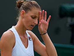 LONDON, ENGLAND - Monday, July 9, 2018: Karolina Pliskova (CZE) looks dejected as he loses 3-6, 6-7 during the Ladies' Singles 4th Round match on day seven of the Wimbledon Lawn Tennis Championships at the All England Lawn Tennis and Croquet Club. (Pic by Kirsten Holst/Propaganda)