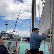Tourists on the Historic Scow which sails from the NZ Maritime Museum, on Auckland Harbour. Auckland, New Zealand, 3rd November 2010. Photo Tim Clayton