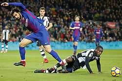 January 7, 2018 - Barcelona, Catalonia, Spain - Andfre Gomes and Shaq  during the Spanish league football match FC Barcelona vs Levante UD at the Camp Nou stadium in Barcelona on January 7, 2018. (Credit Image: © Joan Valls/NurPhoto via ZUMA Press)