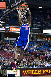 February 28, 2010; Sacramento, CA, USA;  Los Angeles Clippers guard Rasual Butler (45) leaps for a dunk against the Sacramento Kings during the first quarter at the ARCO Arena. Sacramento defeated Los Angeles 97-92.