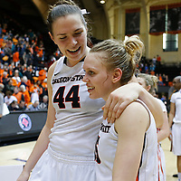 Oregon State's Ruth Hamblin, left, and Jamie Weisner celebrate after Oregon State defeated Arizona State 67-44 in an NCAA college basketball game in Corvallis, Ore., on Monday, Feb. 1, 2016. (AP Photo/Timothy J. Gonzalez)