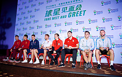 NANNING, CHINA - Saturday, March 24, 2018: Players on stage during a meet & greet event at the Nanning Wanda Mall during the 2018 Gree China Cup International Football Championship. China's Wang Dalei and Deng Hanwen, Czech Republic's Tomáš Kalas and Lukáš Masopust, Wales' Harry Wilson and Sam Vokes, Uruguay's Lucas Torreira andf Maxi Gómez. (Pic by David Rawcliffe/Propaganda)