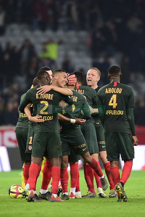 March 15, 2019 - Lille, France, FRANCE - joie des joueurs de Monaco en fin de match.VINICIUS Carlos  (Credit Image: © Panoramic via ZUMA Press)