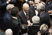 Rome jan 29th 2015, the Parliament votes for election of italin President of Republic. In the picture the former president Mr Giorgio Napolitano