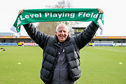 Level playing field scarf during the EFL Sky Bet League 1 match between AFC Wimbledon and Bolton Wanderers at the Cherry Red Records Stadium, Kingston, England on 7 March 2020.