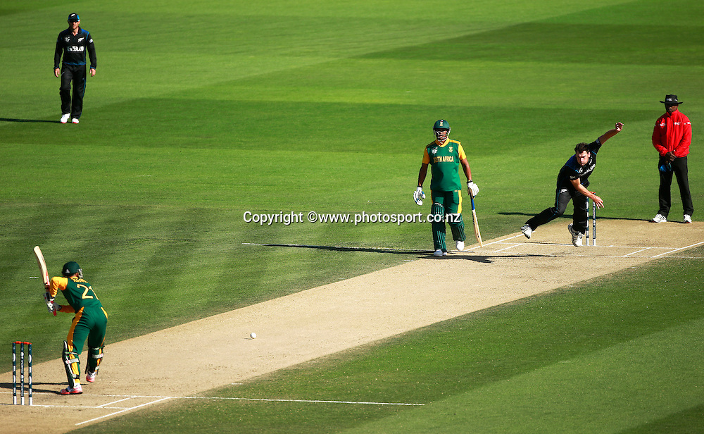Jean-Paul Duminy of South Africa batting with Kyle Mills of New Zealand bowling during the ICC Cricket World Cup warm up game between New Zealand v South Africa at Hagley Oval, Christchurch. 11 February 2015 Photo: Joseph Johnson / www.photosport.co.nz