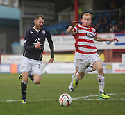 Martin Boyle runs at Ziggy Gordon- Dundee v Hamilton, SPFL Championship at <br /> Dens Park<br /> <br />  - &copy; David Young - www.davidyoungphoto.co.uk - email: davidyoungphoto@gmail.com