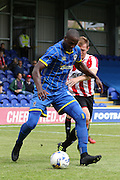 Tom Elliott in action during the Pre-Season Friendly match between AFC Wimbledon and Cheltenham Town at the Cherry Red Records Stadium, Kingston, England on 1 August 2015. Photo by Stuart Butcher.